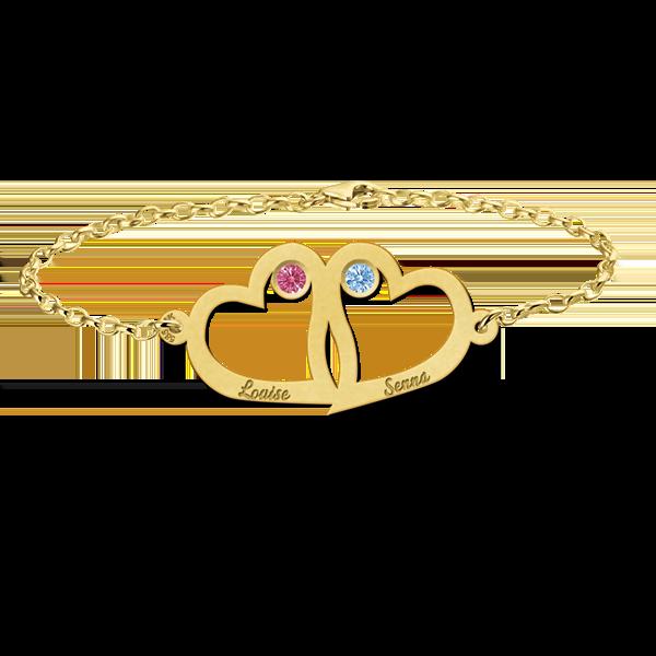 Gegraveerde Gouden moeder-en-dochter-armband met hartje en geboortesteen