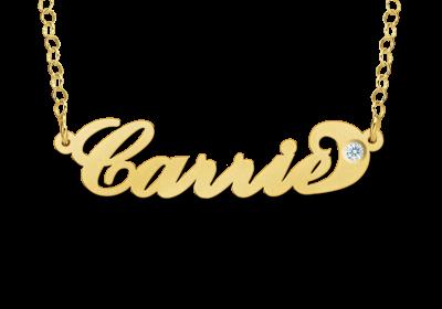 Gouden naam ketting Carrie style zirkonia Gepersonaliseerd
