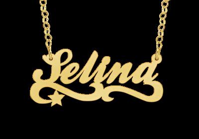 Gouden naam ketting model Selina Gepersonaliseerd