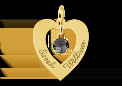 Gouden naamhanger hart 2 namen zirkonia