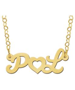 Gouden naamketting initialen met hart Gepersonaliseerd