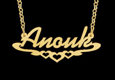Gouden naamketting model Anouk Gepersonaliseerd