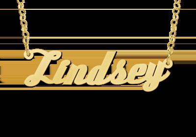 Gouden naamketting model Lindsey Gepersonaliseerd