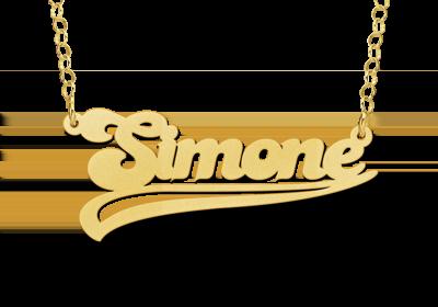 Gouden naamketting model Simone Gepersonaliseerd