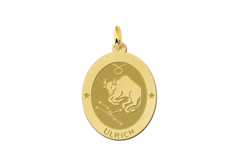 Gouden ovale sterrenbeeld hanger Stier
