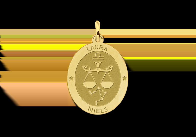 Gouden ovale sterrenbeeld hanger Weegschaal