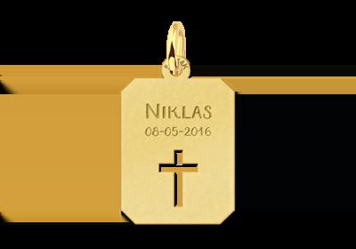 Gouden plaatje met kruis