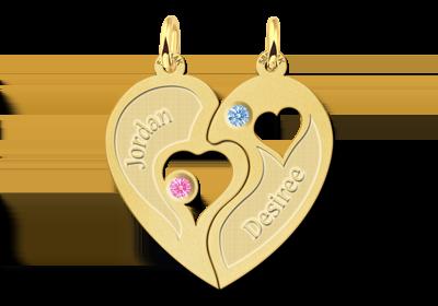 Gouden relatiehanger hart met zirkonia Gegraveerd