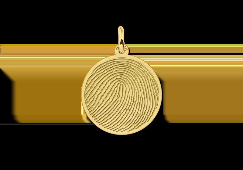 Gouden sieraad vingerafdruk rond gegraveerd
