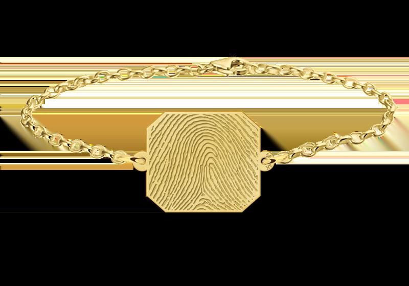 Graveer Hier☝️Jouw Gouden Vingerafdruk Armband Met Rechthoek ✅