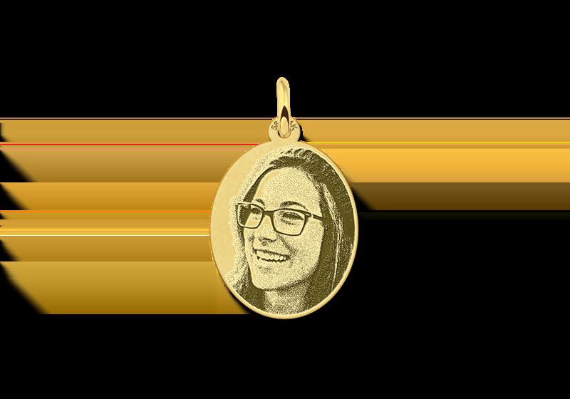 Hanger met foto van goud ovaal gegraveerd