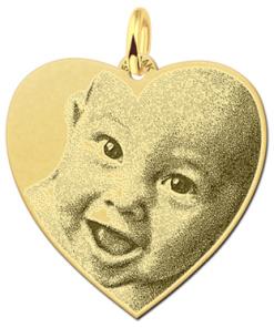 Names4ever Hart hanger met foto van goud