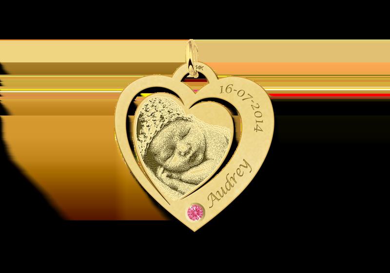 Hartjes fotohanger met geboortesteen goud Gegraveerd