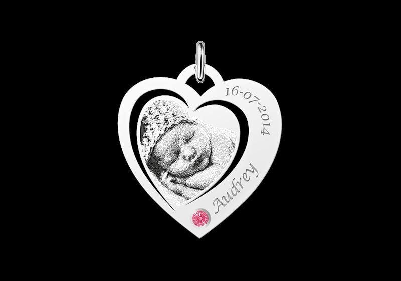 Hartjes fotohanger met geboortesteen zilver Gegraveerd
