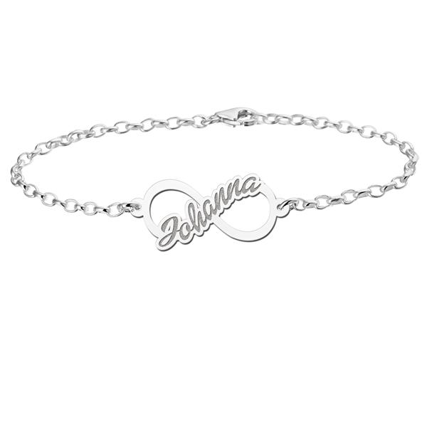 Gegraveerde Infinity armband naam van zilver