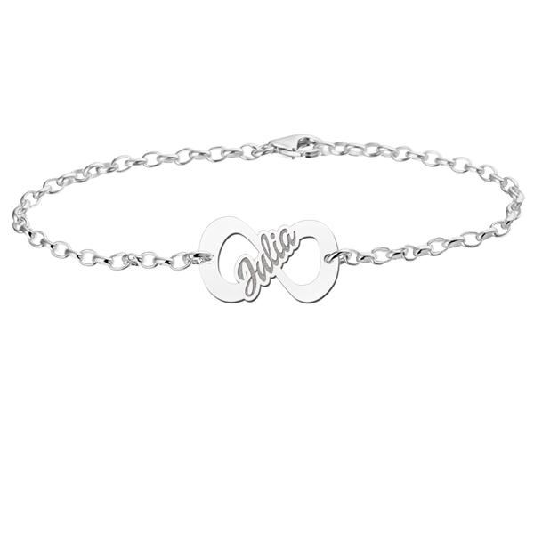 Gegraveerde Infinity armband van zilver met naam