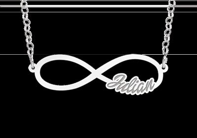 Infinity ketting met naam van zilver