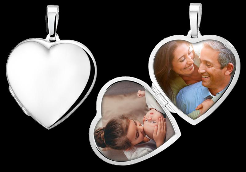 Medaillon hart van zilver met gravure en één of twee foto's - groot gegraveerd