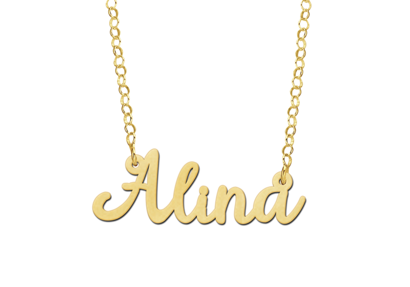 Naamketting goud model Alina Gepersonaliseerd