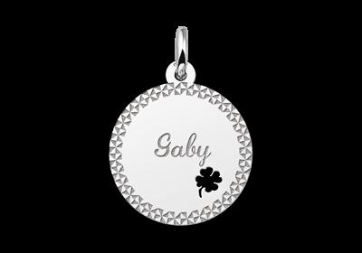 Zilveren Plaatje met je naam een elegante sierrand en een klavertje vier