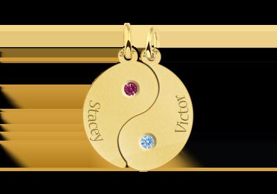 Yin Yang met gouden geboortestenen Gegraveerd
