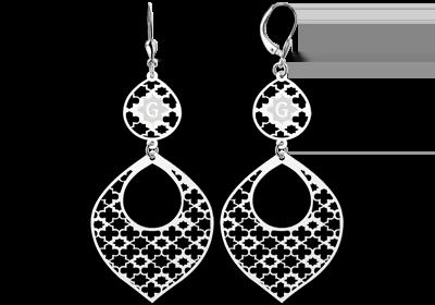 Zilveren arabische oorbellen met letter