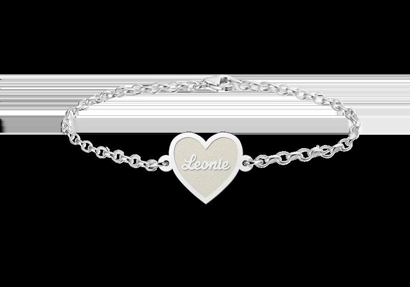 Gegraveerde Zilveren armband met hartje inclusief gravure