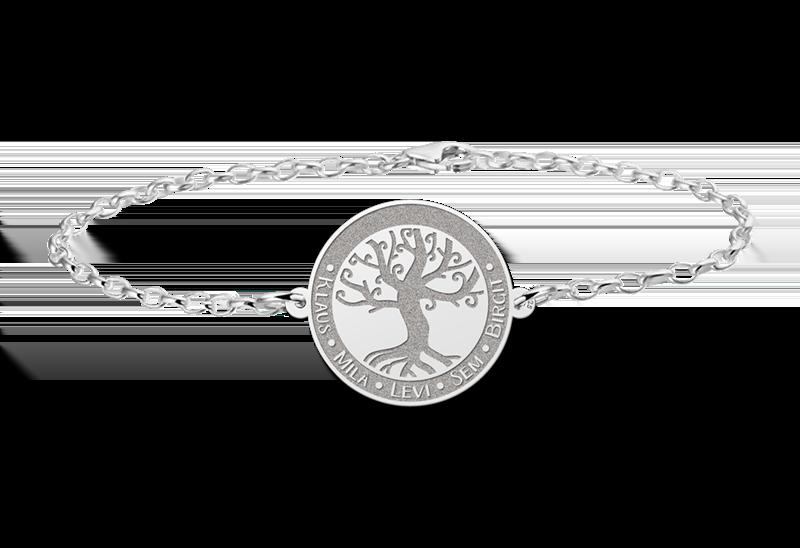 Gegraveerde Zilveren armband met levensboom en gravure