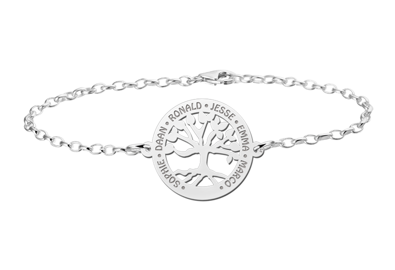 Gegraveerde Zilveren armband met uitgesneden levensboom