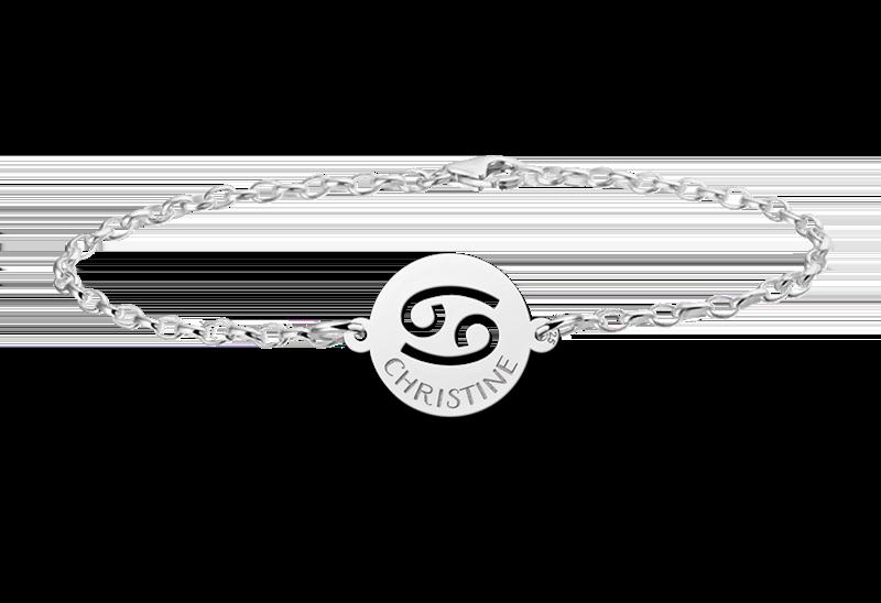 Graveer Hier☝️Jouw Gegraveerde Zilveren armband sterrenbeeld rond Kreeft ✅