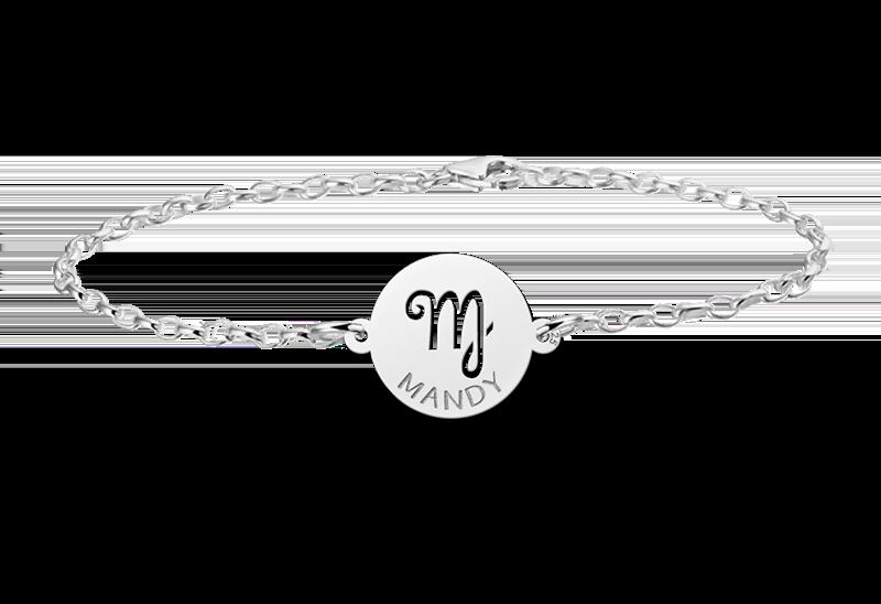 Graveer Hier☝️Jouw Gegraveerde Zilveren armband sterrenbeeld rond Maagd ✅