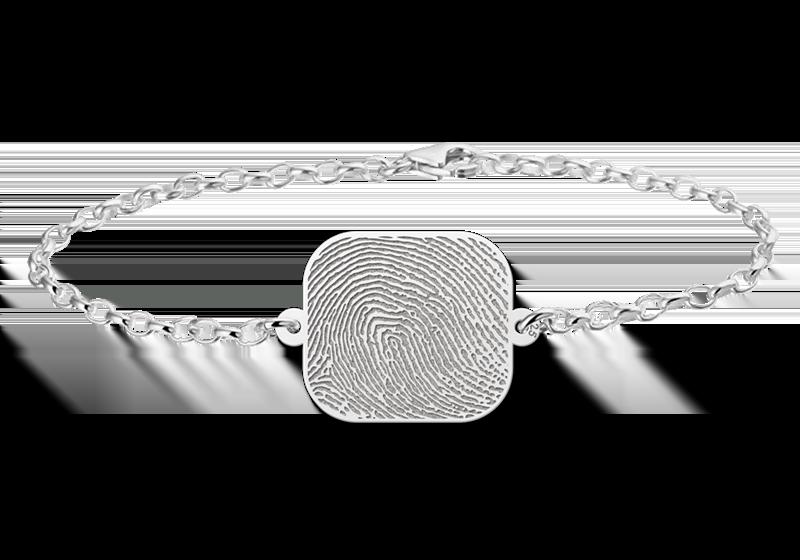 Names4ever Zilveren Armband vingerafdruk met rechthoek