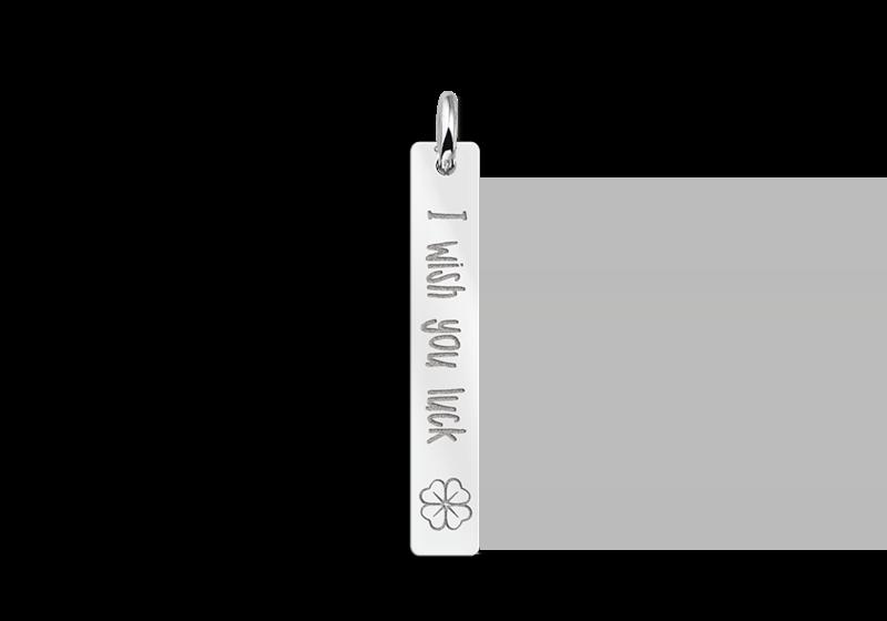 Zilveren bar ketting hanger met gravure en klavertje Gepersonaliseerd