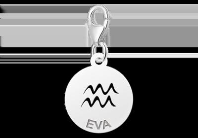 Graveer Hier☝️Jouw Zilveren Charm Zodiac Waterman ✅