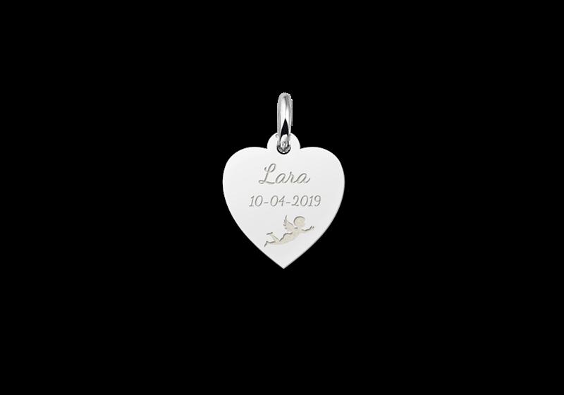 Zilveren communie hart met engel