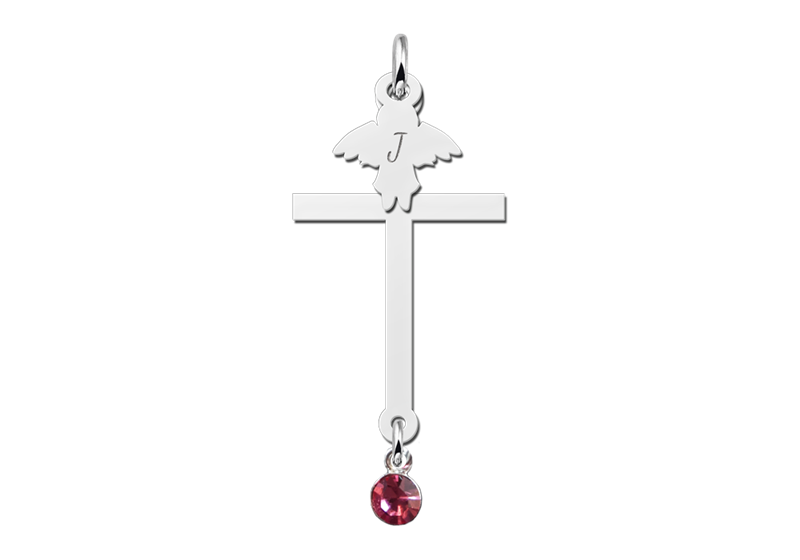 Zilveren communie kruis met zirkonia en engel