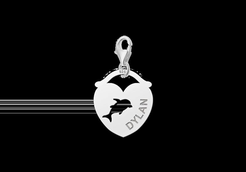 Graveer Hier☝️Jouw Zilveren Dieren Naambedel Hart Dolfijn