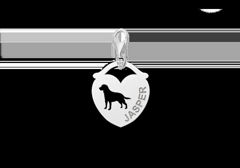 Graveer Hier☝️Jouw Zilveren Dieren Naambedel Hart Hond ✅