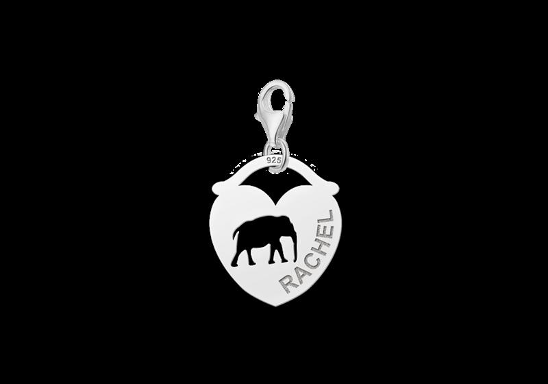 Graveer Hier☝️Jouw Zilveren Dieren Naambedel Hart Olifant