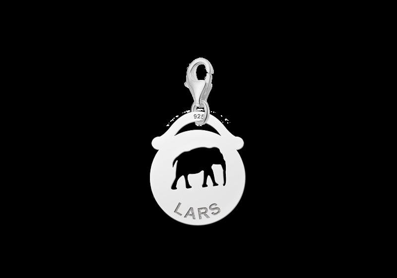 Graveer Hier☝️Jouw Zilveren Dieren Naambedel Rond Olifant ✅