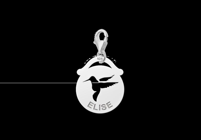 Graveer Hier☝️Jouw Zilveren Dieren Naambedel Rond Vogel