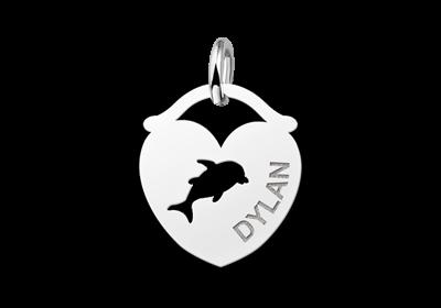 Zilveren dieren naamhanger hart dolfijn