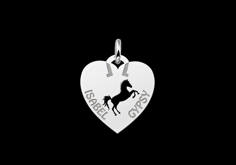 Zilveren dieren naamhanger hart paard