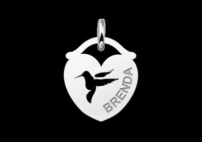 Zilveren dieren naamhanger hart vogel