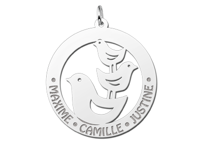 Zilveren dieren naamhanger rond 3 vogels