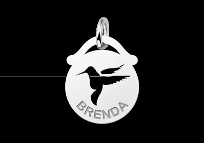 Zilveren dieren naamhanger rond vogel