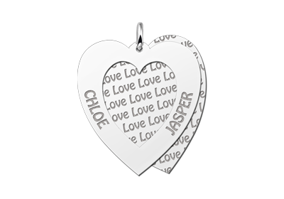 Zilveren familiehanger hart Gegraveerd