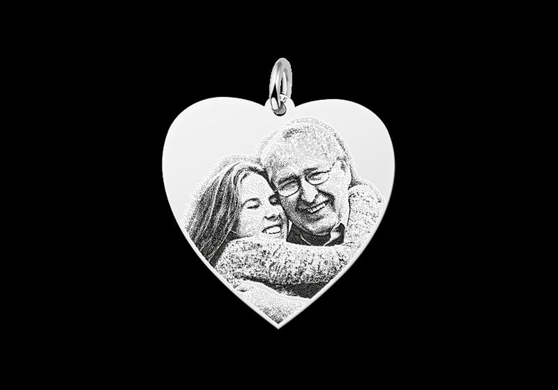 Zilveren fotohanger hart gegraveerd