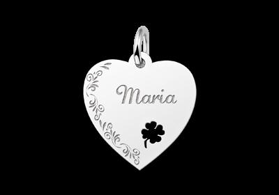 Zilveren graveerplaatje hart met bloemrand en klaver 4