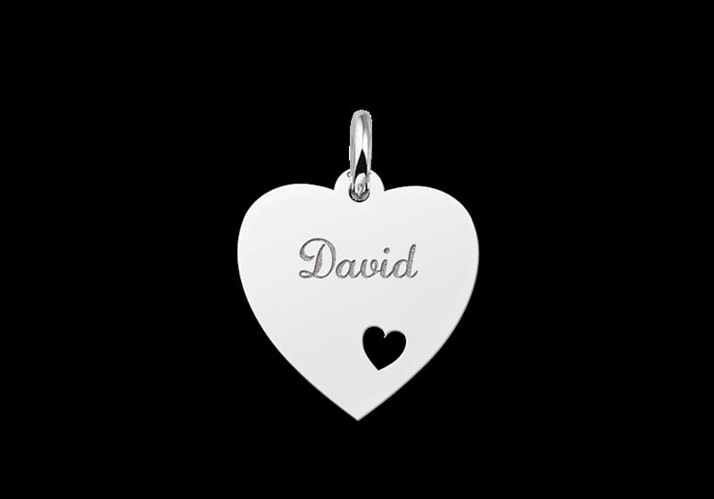 Zilveren graveerplaatje hart met hartje